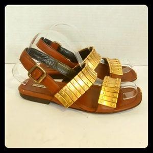 Miu Miu leather sandals with gold bar hardware